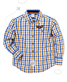 Flight Deck by Babyhug Full Sleeves Shirt Checks Print - Blue Yellow