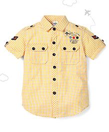 Flight Deck by Babyhug Half Sleeves Shirt Checks Print - Yellow