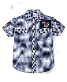 Flight Deck by Babyhug Half Sleeves Shirt Checks Print - Blue