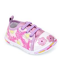 Peach Girl Casual Shoes Floral Applique - Purple
