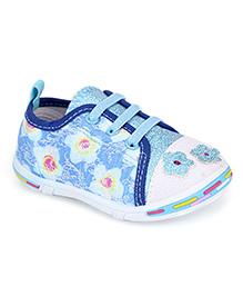 Peach Girl Casual Shoes Floral Applique - Light Blue