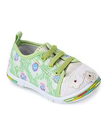 Peach Girl Casual Shoes Floral Applique - Light Green