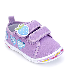 Peach Girl Casual Shoes Strawberry Applique - Purple