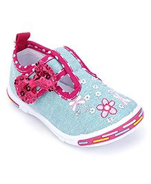 Peach Girl Casual Shoes Bow Applique - Blue
