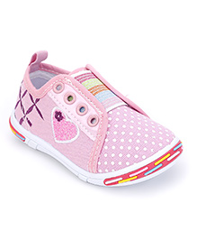 Peach Girl Casual Shoes Heart Embroidery - Light Pink