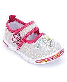 Peach Girl Casual Shoes Floral Applique - Grey
