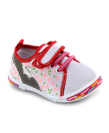 Peach Girl Casual Shoes Floral Design - White