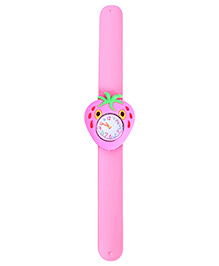 Slap Style Analog Watch Strawberry Shape Dial - Pink