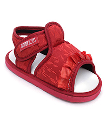 Gini & Jony Sandals With Velcro Closure - Red