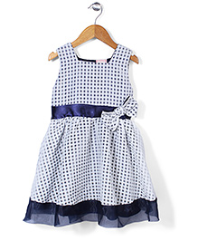 Little Coogie Checkered Dress - Navy Blue