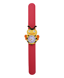 Slap Style Analog Watch Bee Shape Dial - Red And Yellow
