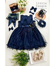 Little Coogie Flared Dress With Flower - Dark Blue