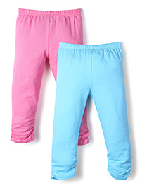 Babyhug Gathered Hem Pack Of 2 Leggings - Pink & Sky Blue