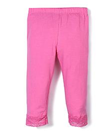 Babyhug Lycra Leggings With Lace Hem - Pink