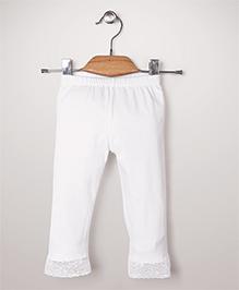 Babyhug Leggings With Lace Hem - White