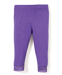 Babyhug Leggings With Lace Hem - Violet