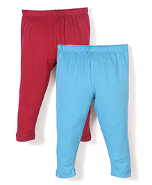 Babyhug Solid Color Pack Of 2 Leggings - Blue & Red