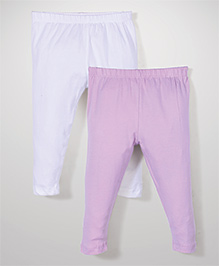 Babyhug Solid Color Pack Of 2 Leggings - Pink & White