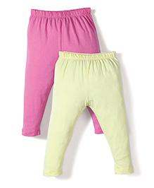 Babyhug Solid Color Pack Of 2 Leggings - Pink & Yellow
