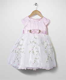 Little Coogie Floral Print Party Dress - Baby Pink