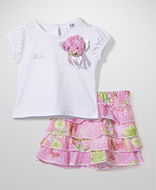 Enfant Printed Top & Skirt Set - Pink