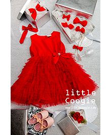 Little Coogie Bow Dress - Red