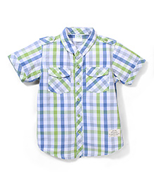 Babyhug Half Sleeves Check Shirt - Green & Blue