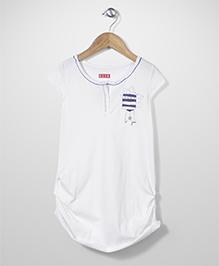 Elle Front Button Top - White
