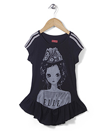 Elle Fashion Princess Print Dress - Black