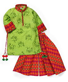 Exclusive From Jaipur Printed Full Sleeves Kurta And Palazzo Pants - Multicolor