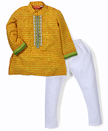 Exclusive From Jaipur Short Kurta And Pajama Set - Mustard Yellow And White