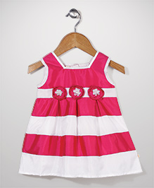 Mini Cupcake Sleeveless Frock Floral Appliques - Pink and White
