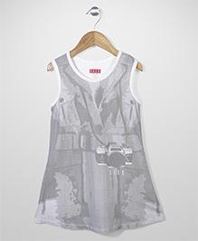 Elle Fashion Camera Print Dress - White & Grey