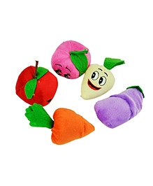 Kuhu Creations Velvet Cotton Finger Puppet Fruits & Vegetable - Set 10 Pcs
