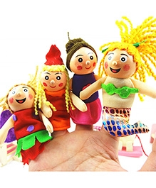 Kuhu Creations Wooden Finger Puppets - Set Of 4