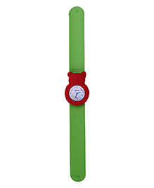 Slap Style Analog Watch Bear Design Dial - Green & Red
