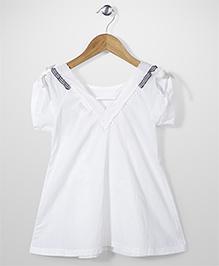 Elle Fashion Shoulder Lace Dress- White
