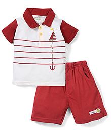 Babyhug Half Sleeves T-Shirt and Shorts Set Boat Print - White and Maroon