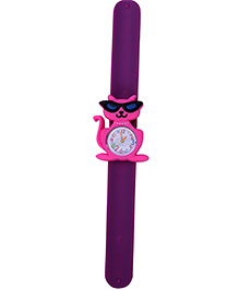 Slap Style Analog Watch Cat Shape Dial - Pink