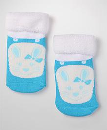 Mustang Kitty Print Ankle Length Socks - Teal Blue