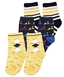 Mustang Ankle Length Socks Multi Design Pack Of 3 - Yellow Navy
