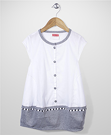 Elle Fashion Front Button Dress- White & Grey