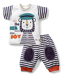 Babyhug Half Sleeves T-Shirt And Leggings Sea Patch - White Navy