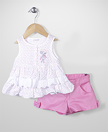 Kiddy Rabbit Dottted Print Top & Short Set - White & Pink
