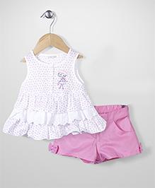 Kiddy Rabbit Dottted Print Top & Short Set - White & Pink