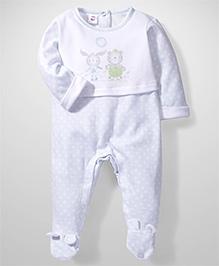 Little Wacoal Little Bear Print Onesie - White & Blue