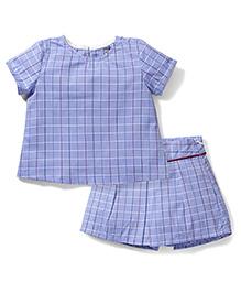 Kiddy Mall Checks Print Top & Skirt - Blue
