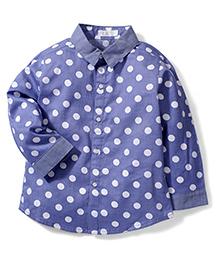 KR White Dotted Print Shirt - Blue