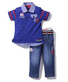 Mickey Half Sleeves T-Shirt and Pants Set - Blue