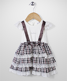 AZ Baby Ruffle Checkered Dress - White